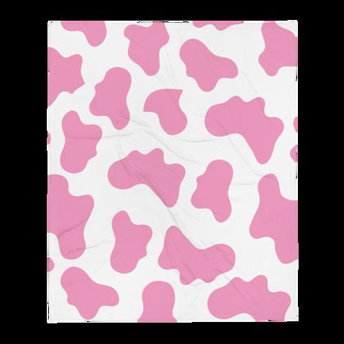 Pink Cow Pattern Throw Blanket