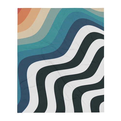 Retro Rainbow Wave Throw Blanket