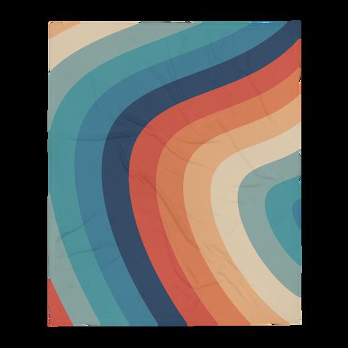 Retro Rainbow Wavy Pattern Throw Blanket