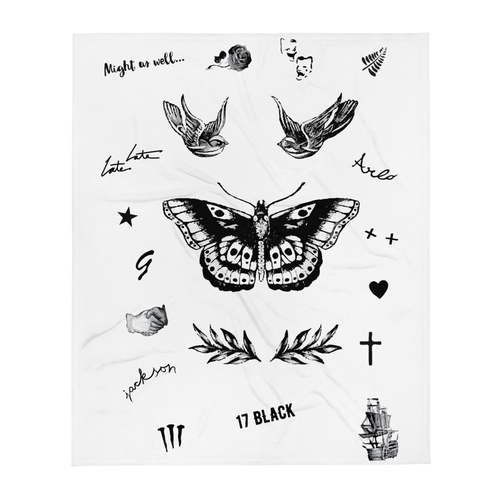 Harry's Tattoos Throw Blanket