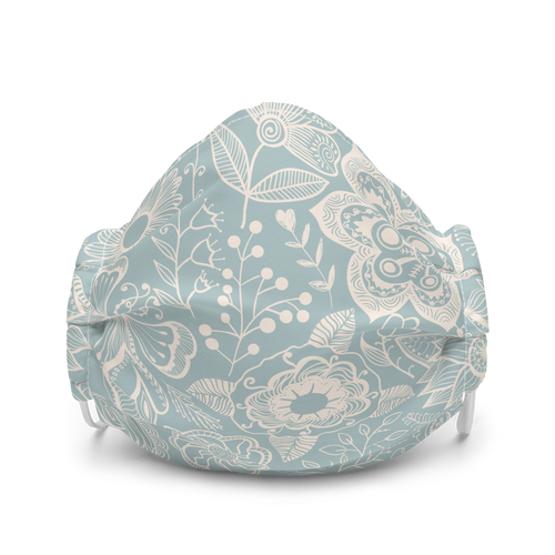 Pale Blue and Tan Floral Pattern Face Mask
