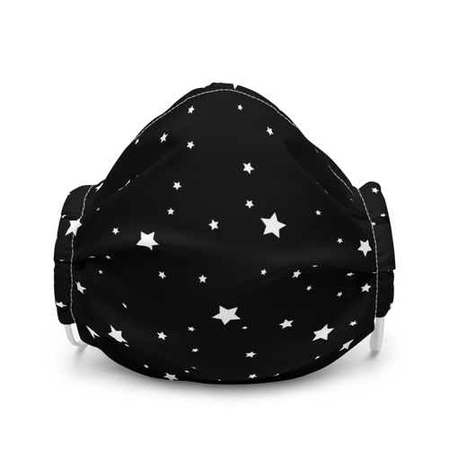 White Stars on Black Face Mask