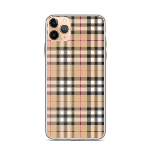 Black, White, Tan and Burgundy Plaid iPhone Case for iPhone models including 12, 12 Mini, 12 Pro, 12 Pro Max, 11, 11 Pro, 11 Pro Max, XR, XS Max, X/XS, 7Plus/8Plus, 7/8 and SE