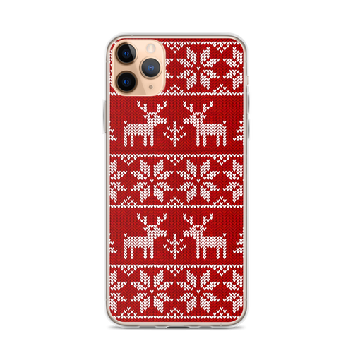 Reindeer Snowflake Pattern iPhone Case for iPhone models including 12, 12 Mini, 12 Pro, 12 Pro Max, 11, 11 Pro, 11 Pro Max, XR, XS Max, X/XS, 7Plus/8Plus, 7/8 and SE