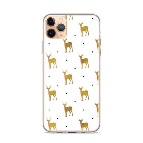 Pretty Deer and Black Dot Pattern iPhone Case for iPhone models including 12, 12 Mini, 12 Pro, 12 Pro Max, 11, 11 Pro, 11 Pro Max, XR, XS Max, X/XS, 7Plus/8Plus, 7/8 and SE