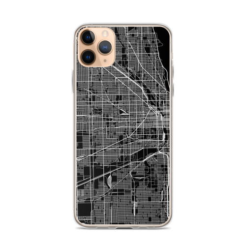 Chicago City Map iPhone Case for iPhone models including 12, 12 Mini, 12 Pro, 12 Pro Max, 11, 11 Pro, 11 Pro Max, XR, XS Max, X/XS, 7Plus/8Plus, 7/8 and SE