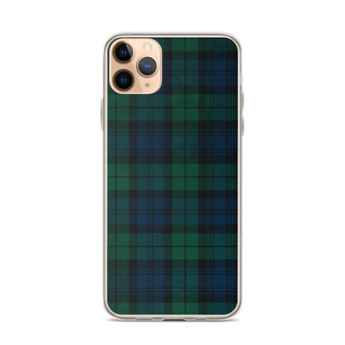 Green Tartan Plaid iPhone Case for iPhone models including 12, 12 Mini, 12 Pro, 12 Pro Max, 11, 11 Pro, 11 Pro Max, XR, XS Max, X/XS, 7Plus/8Plus, 7/8 and SE