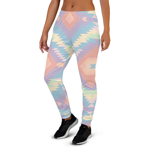 Rainbow Aztec Pattern All-Over Design Cotton Joggers