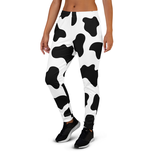 Black and White Cow Pattern Women's Joggers