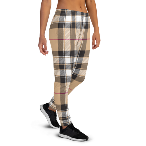 Black, Burgundy and Tan Plaid Women's Joggers