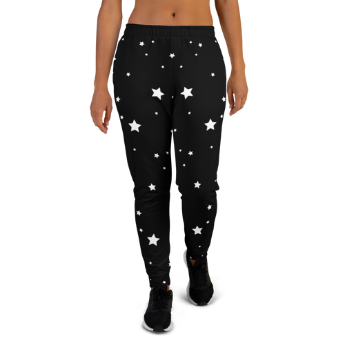 White Stars on Black Women's Joggers