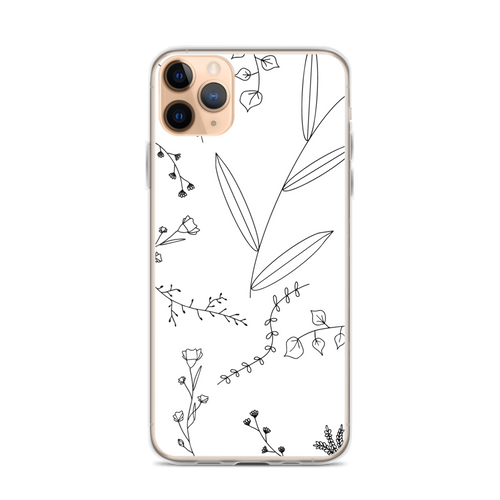 Minimalist Floral Drawing iPhone Case for iPhone models including 12, 12 Mini, 12 Pro, 12 Pro Max, 11, 11 Pro, 11 Pro Max, XR, XS Max, X/XS, 7Plus/8Plus, 7/8 and SE