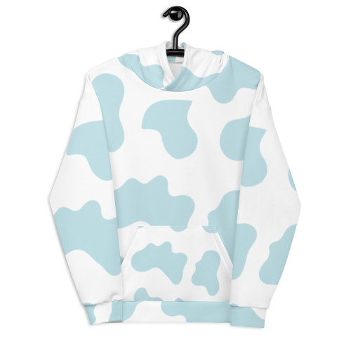 Light Blue Cow Pattern Unisex Hoodie