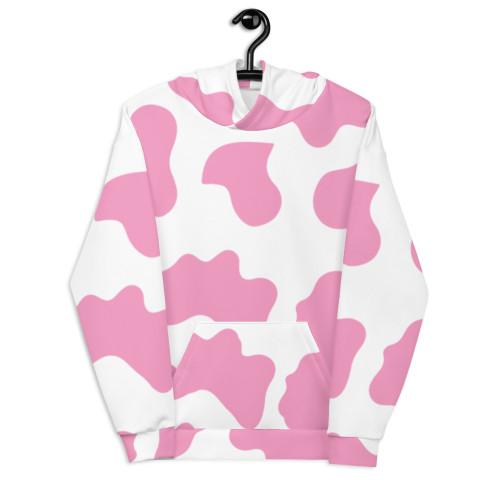 Hot Pink Cow Pattern Unisex Hoodie