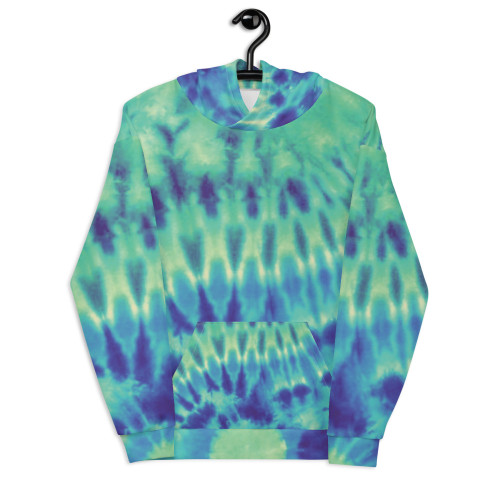 Green and Blue Tie-Dye Unisex Hoodie