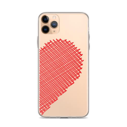 Red Scribble Heart Best Friends iPhone Case (Right Side)