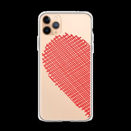 Red Scribble Heart Best Friends iPhone Case (Left Side)