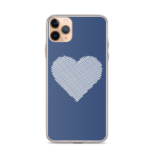 White Scribble Heart on Navy iPhone Case