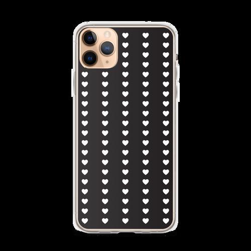Cute White Heart Pattern on Black iPhone Case