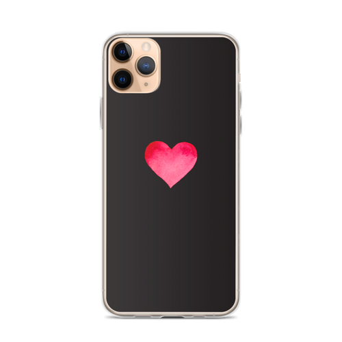 Red and Pink Heart on Black iPhone Case