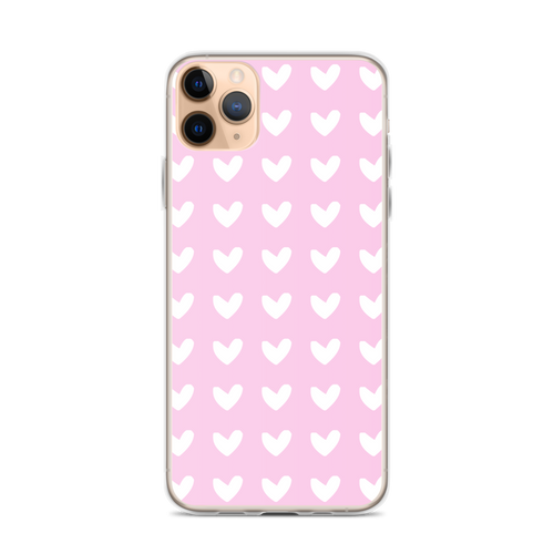 White Heart Pattern on Pink iPhone Case