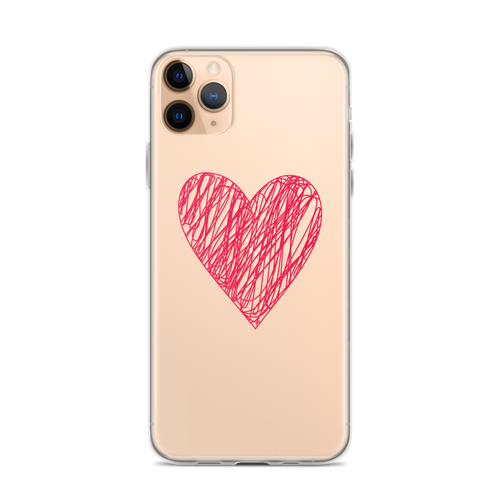 Simple Red Scribble Heart iPhone Case