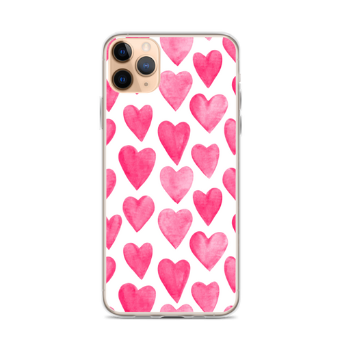 Pink Heart Pattern iPhone Case