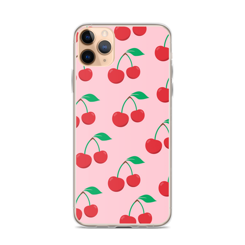 Cherry Red Pattern on Pink iPhone Case  for iPhone models including 12, 12 Mini, 12 Pro, 12 Pro Max, 11, 11 Pro, 11 Pro Max, XR, XS Max, X/XS, 7Plus/8Plus, 7/8 and SE