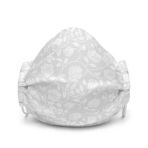 Pale Grey and White Rose Pattern face mask
