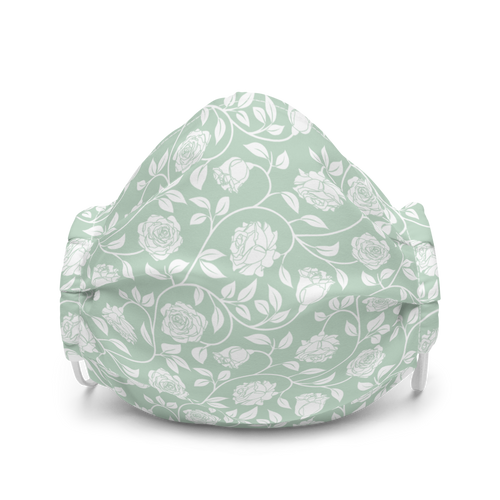 Sage and White Floral face mask