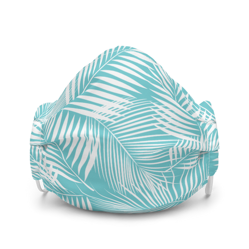 Blue and White Palm Leaf Pattern Premium face mask