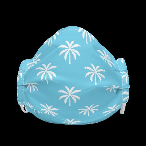 White Palms on Blue Pattern Premium face mask