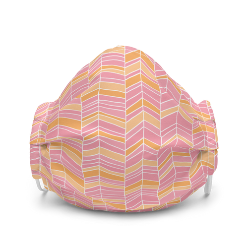 Pink and Orange Chevron face mask