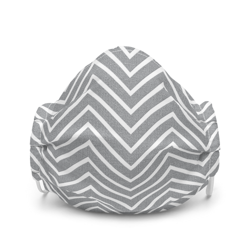 Grey and White Chevron Pattern face mask