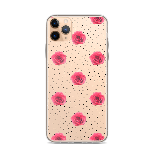 Red Rose and Black Dot Pattern iPhone Case