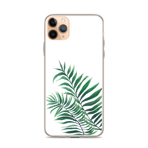 Green Palms on White iPhone Case
