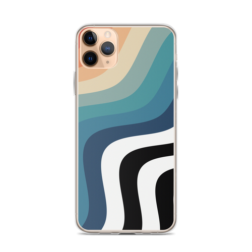 Retro Rainbow with Black and White Wave Pattern iPhone Case