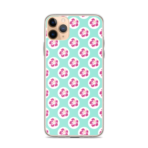 Pink Hibiscus Floral Pattern on Aqua Blue iPhone Case