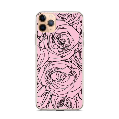 Pink Rose Line Art Drawing iPhone Case