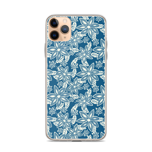 Tan Flowers on Navy Blue iPhone Case