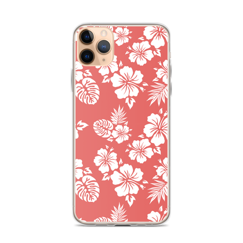 Hibiscus on Coral Red iPhone Case