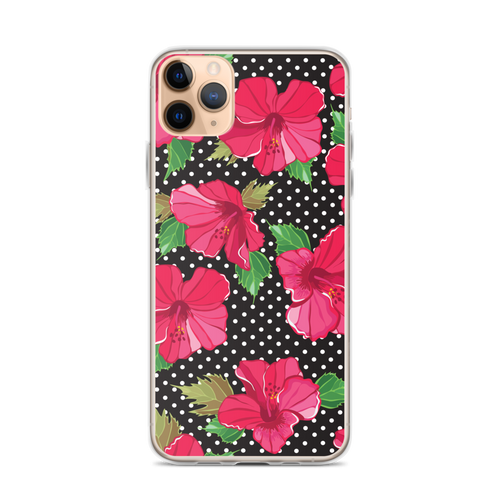 Hibiscus Flowers on White Polka Dot Black Background iPhone Case