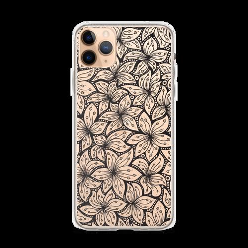 Black Floral Transparent Pattern iPhone Case