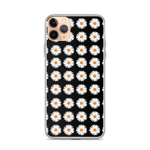 Daisy Pattern on Black iPhone Case