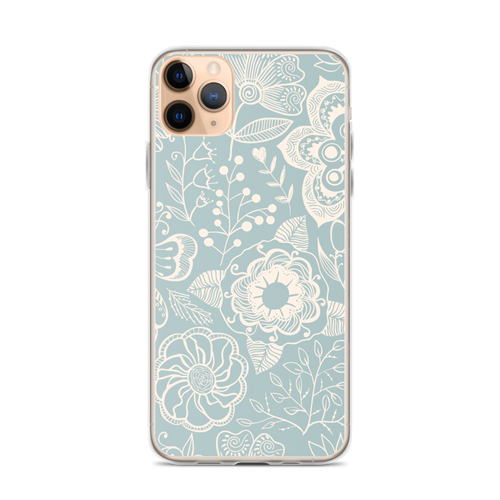 Pretty Tan Flowers on Pale Blue iPhone Case