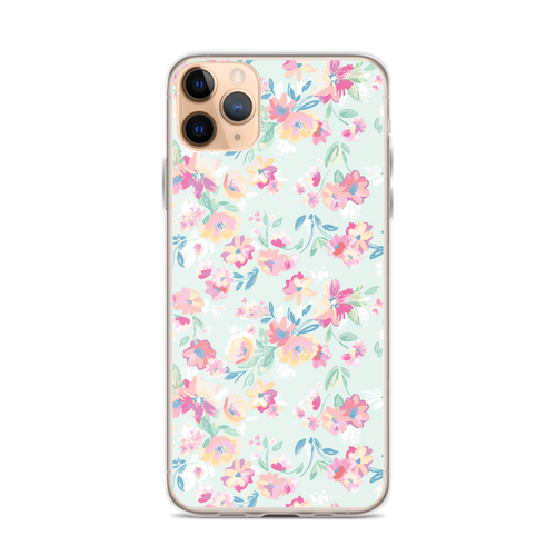 Pale Blue and Pink Floral Pattern iPhone Case
