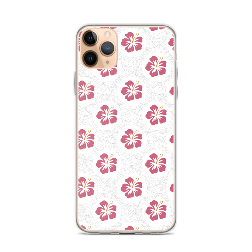 Pretty Pink Hibiscus on Wave Pattern iPhone Case