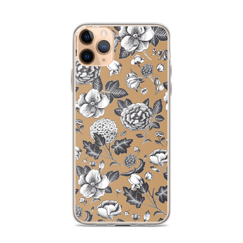 Vintage Floral Design on Tan iPhone Case