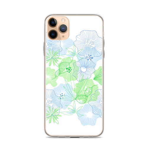 Blue and Green Floral Drawing iPhone Case