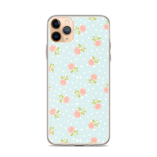 Pale Pink Rose Pattern on Light Blue iPhone Case